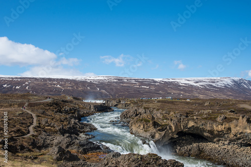 Foto Murales River near waterfall Godafoss in Iceland