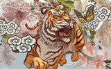 Fototapety Tiger and butterfly amid cherry blossom illustration