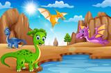 Kreskówka szczęśliwe dinozaury żyjące na pustyni