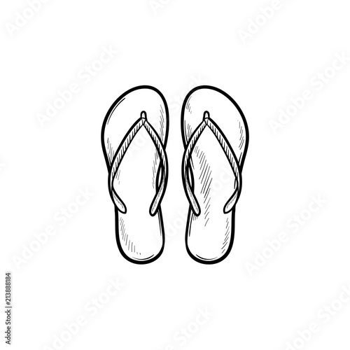 3798d97400fb85 Pair of flip flop slippers hand drawn outline doodle icon. Summer vacation