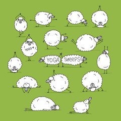 Funny sheep doing yoga, sketch for your design © Kudryashka