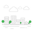 city with cloud and tower with green trees.