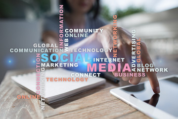 Social media network and marketing. Business, technology concept. Words cloud on virtual screen.?