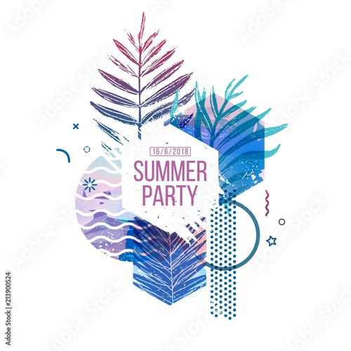 Template geometric design for summer season sales. Layout with geometric elements, watercolor texture and tropical leaf. Modern banner with  decor leaves and flowers for party or offer. Vector