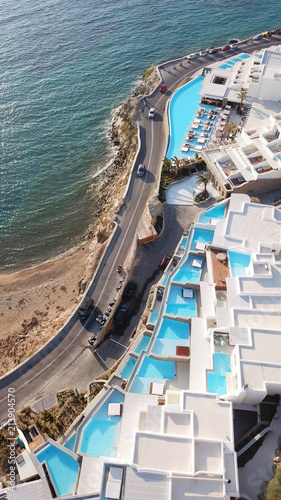 Foto Spatwand Nice Aerial drone photo of famous resort in Cavo Tagoo famous for number of pools in new public port of Mykonos island, Cyclades, Greece