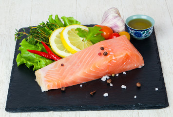 Salted salmon fillet