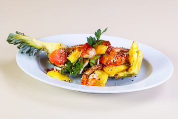 Pineapple with seafood