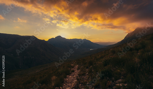 Plexiglas Zwart Sunset in Jonkershoek nature reserve