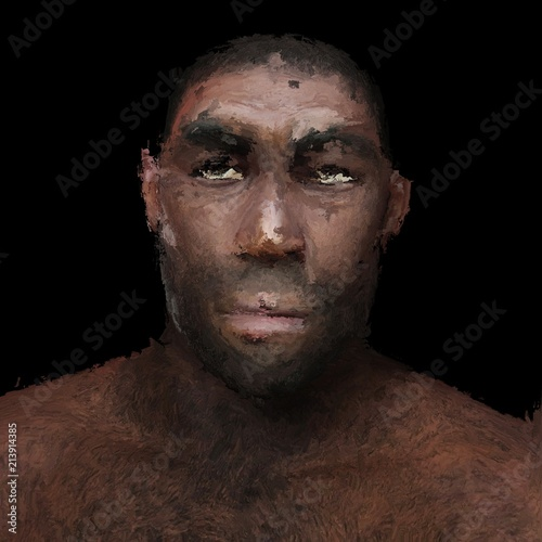 Digital Painting of a prehistoric Man - 213914385