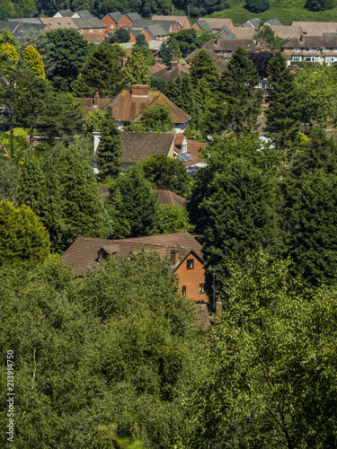 aerial view of suburbs - Birmingham England UK