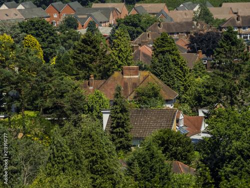 aerial view of suburbs - Birmingham England UK