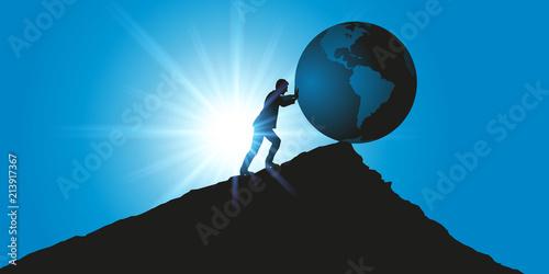 environnement - climat - planète - terre - concept - symbole - destruction - changement climatique - 213917367