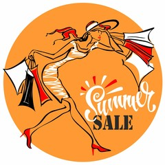 Summer sale.  Lettering. The girl runs to shop. Tag design for discount. Shopping on site. Vector illustration © Olga