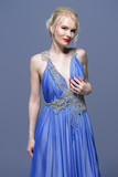 woman in blue dress - 213924950