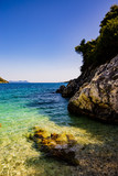 One of most beautful beches Mikros Gialos on Lefkada island, Greece, Ionian Sea