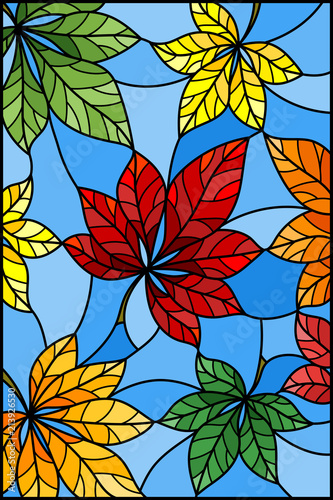 illustration-in-stained-glass-style-with-colorful-leaves-of-chestnut-on-blue-baackground