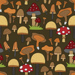 Seamless vector forest pattern with cute color illustrations. - 213931119