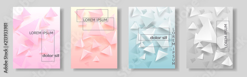 Set of covers with abstract background with geometric elements. - 213933981