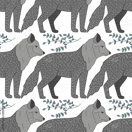 Seamless vector forest pattern with cute color illustrations - wild gray wolf. - 213941177