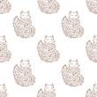 Fox sketch seamless pattern. Funny cartoon. Hand drawn vector illustration. - 213944506