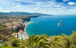 Quadro Daylight aerial view of coastline Sorrento and Gulf of Naples, Italy