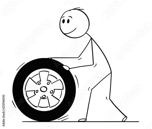 Fotobehang Auto Cartoon stick drawing conceptual illustration of man rolling car wheel and tire.