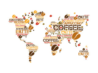 Coffee drinks word cloud in World Map, concept background