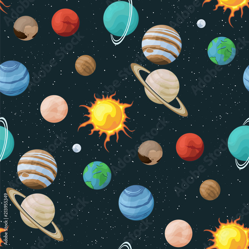 Fototapeta Solar system vector seamless pattern of planets in space universe texture galaxy background