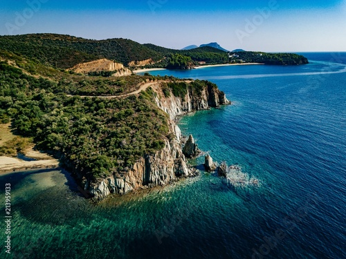 Leinwandbild Motiv Aerial view of a rocky coastline Mediterranean Sea. Greece