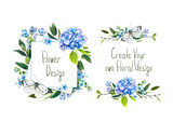 Set with illustration of  blue hydrangea, butterfly and other flowers. Frame and small bouquets for decoration, for your design. Markers' and watercolor's art. - 213970703