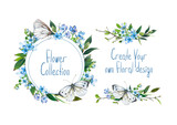 Set with illustration of  blue hydrangea, butterfly and other flowers. Round frame and small bouquets for decoration, for your design. Markers' and watercolor's art. - 213970722