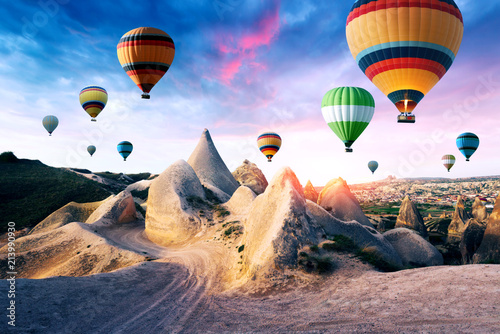 Color balloons in the sunrise sky. Cappadocia, Turkey - 213990930