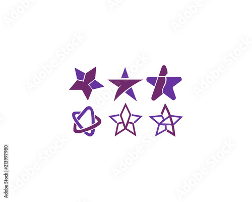 Star icon with slightly rounded corners. Easily colorable vector design on isolated background.  - 213997980