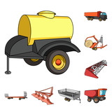 Agricultural machinery cartoon icons in set collection for design. Equipment and device vector symbol stock web illustration. - 214000541
