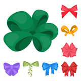 Multicolored bows cartoon icons in set collection for design.Bow for decoration vector symbol stock web illustration. - 214000561