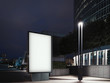 Leinwanddruck Bild - Illuminated banner at night and business center on background. 3d rendering