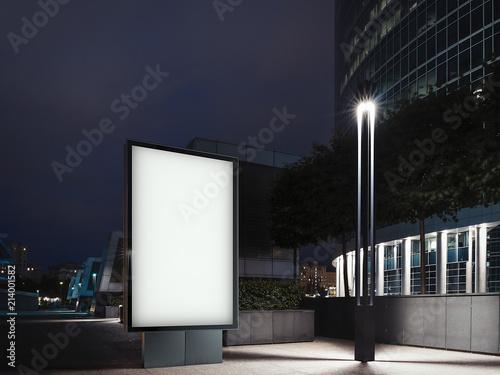 Leinwanddruck Bild Illuminated banner at night and business center on background. 3d rendering