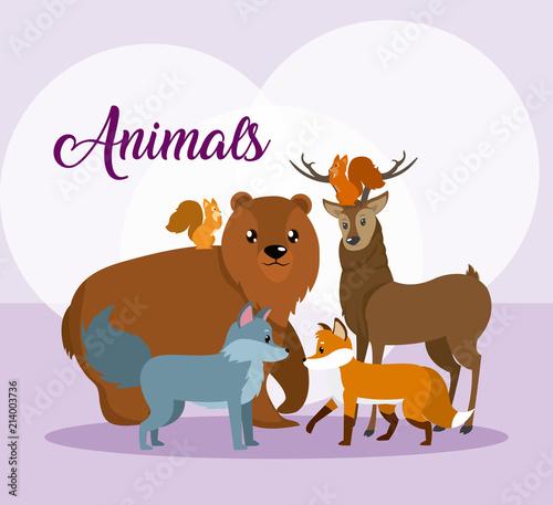 Fototapeta Cute animals card cartoon