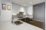 Modern style kitchen with wood paneled refrigerator. - 214005533