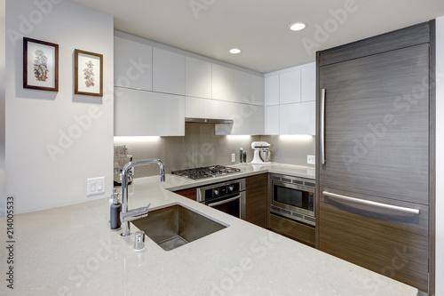 Modern style kitchen with wood paneled refrigerator.