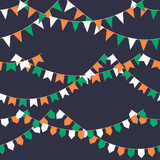 Set of garland with celebration flags chain, green, white, orange pennons on dark background, footer and banner for celebration - 214006727