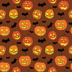 Halloween seamless vector pattern with hand drawn orange pumpkins carved faces and black bats on brown background. © jelena