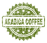 ARABICA COFFEE stamp seal watermark with rubber print style. Green vector rubber print of ARABICA COFFEE tag with dust texture. - 214019129