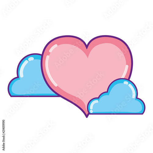 heart shape love symbol with clouds - 214019190