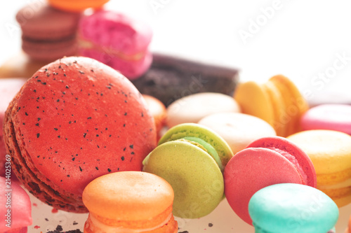 Canvas Macarons Mixed size of french macarons on white background