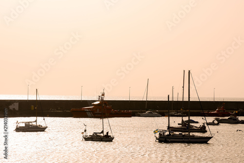 Sail Boat Silhouette at Sunset - 214032907