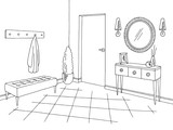 Hallway graphic black white home interior sketch illustration vector - 214043989