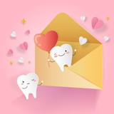 cartoon tooth with love concept - 214046533