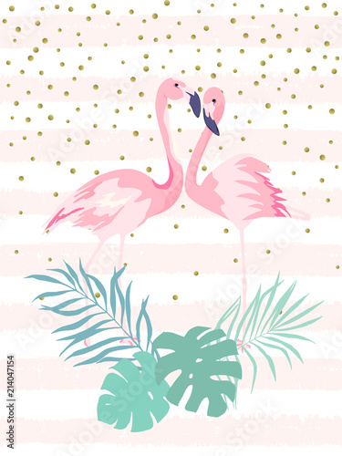 Couple pink flamingos. Tropical print for invitation, birthday, celebration, greeting card. Vector illustration - 214047154