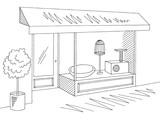 Pet shop store exterior graphic black white sketch illustration vector - 214048320